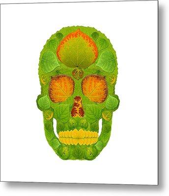 Aspen Leaf Skull 10 Metal Print by Agustin Goba