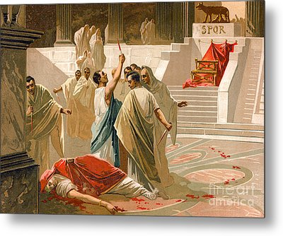 Assassination Of Julius Caesar Metal Print by Spanish School