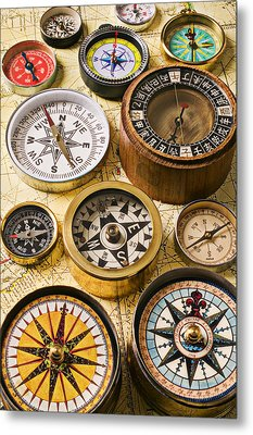 Assorted Compasses Metal Print by Garry Gay