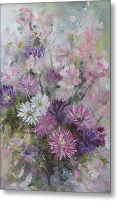 Asters And Stocks Metal Print