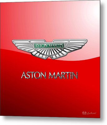 Aston Martin - 3 D Badge On Red Metal Print