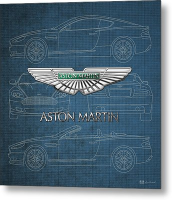 Aston Martin 3 D Badge Over Aston Martin D B 9 Blueprint Metal Print
