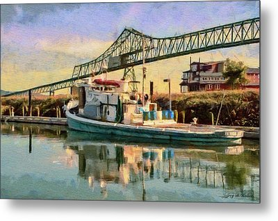 Metal Print featuring the painting Astoria Waterfront, Scene 1 by Jeff Kolker