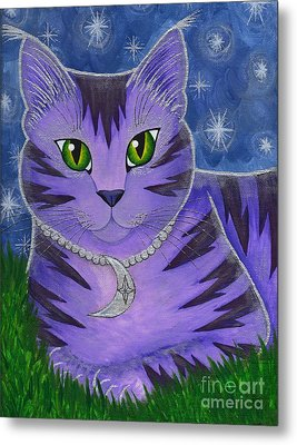 Astra Celestial Moon Cat Metal Print by Carrie Hawks