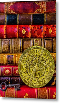 Astrolabe And Old Books Metal Print by Garry Gay