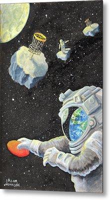 Astronaut Disc Golf Metal Print