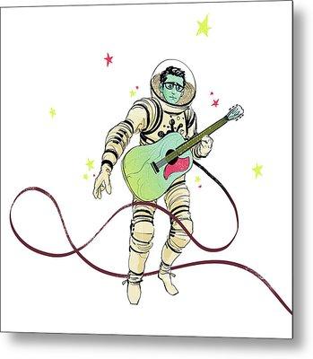 Astronaut Holding Guitar Metal Print