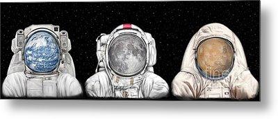 Astronaut Triptych Metal Print