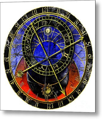 Astronomical Clock In Grunge Style Metal Print by Michal Boubin