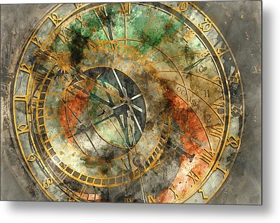Astronomical Clock In The Old Town Square In Prague Metal Print by Brandon Bourdages