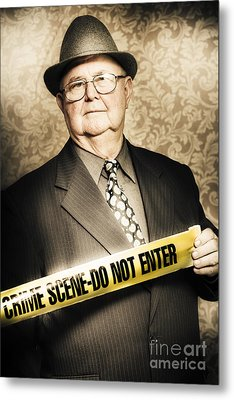 Astute Fifties Crime Scene Investigator Metal Print by Jorgo Photography - Wall Art Gallery