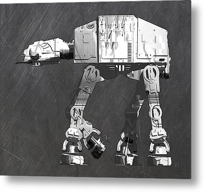 At At Walker From Star Wars Vintage Recycled License Plate Scrap Metal Art Metal Print