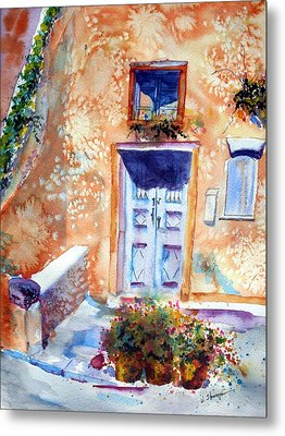 At Home In Santorini Greece  Metal Print