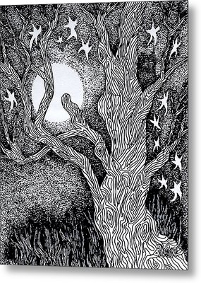 At Night Beside The Twisted Tree Metal Print by Yvonne Blasy
