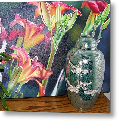 At One With Flowers And Swallows Metal Print by Lenore Senior