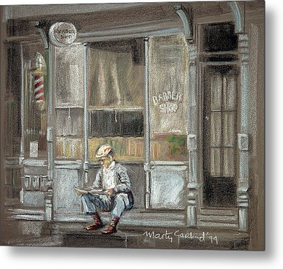 At The Barber Shop Metal Print by Marty Garland