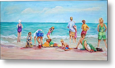 Metal Print featuring the painting At The Beach by Patricia Piffath