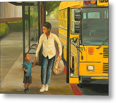 At The Bus Stop Metal Print