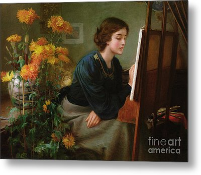 At The Easel  Metal Print by James N Lee