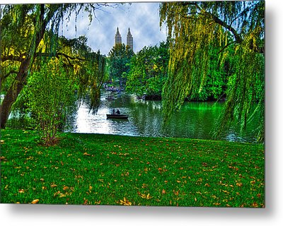 At The Lake In Central Park Metal Print by Randy Aveille