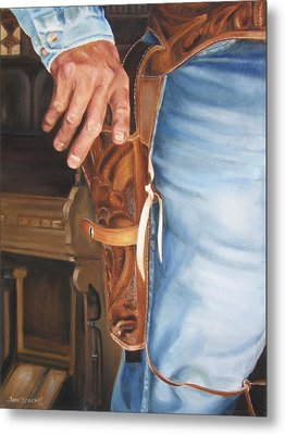 Metal Print featuring the painting At The Ready by Lori Brackett