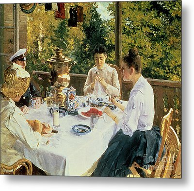 At The Tea-table Metal Print by Konstantin Alekseevich Korovin