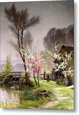 At The Watermill   Spring Metal Print by Henri Saintain