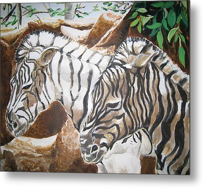 Metal Print featuring the painting At The Zoo by Julie Todd-Cundiff