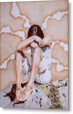 Athabaskan Girl On A Rock Metal Print by Ron Bissett