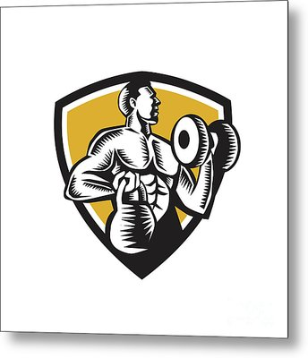 Athlete Lifting Kettlebell Dumbbell Crest Woodcut Metal Print