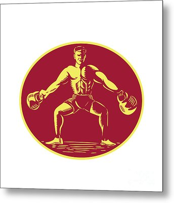Athlete Lifting Kettlebell Oval Woodcut Metal Print