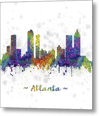 Atlanta Georgia Skyline Color 03sq Metal Print by Aged Pixel