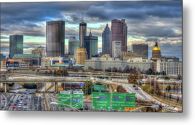Metal Print featuring the photograph Atlanta Moving On Skyline Cityscape Art by Reid Callaway