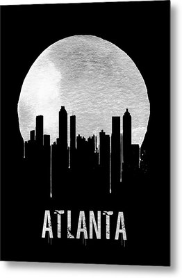 Atlanta Skyline Black Metal Print by Naxart Studio
