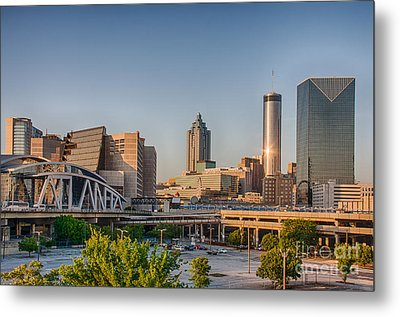 Atlanta Skyline Philips Arena Metal Print