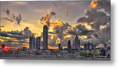 Atlanta Sunrise On Atlantic Station Commons And Midtown Atlanta Metal Print by Reid Callaway