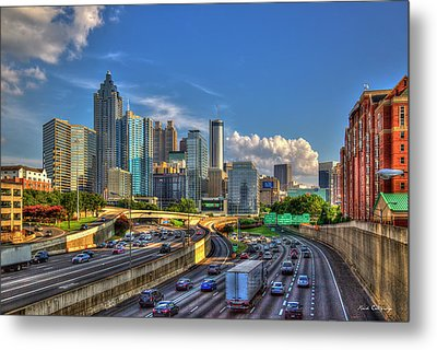 Metal Print featuring the photograph Atlanta The Capital Of The South Cityscapes Sunset Reflections Art by Reid Callaway