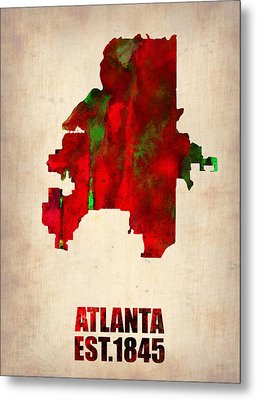 Atlanta Watercolor Map Metal Print by Naxart Studio