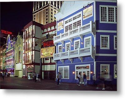 Metal Print featuring the photograph Atlantic City Boardwalk At Night by Sally Weigand