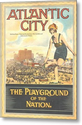 Atlantic City The Playground Of The Nation Metal Print by NewJerseyAlmanac