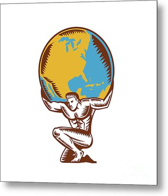 Atlas Lifting Globe Kneeling Woodcut Metal Print by Aloysius Patrimonio