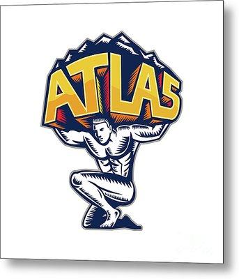 Atlas Lifting Mountain Kneeling Woodcut Metal Print by Aloysius Patrimonio