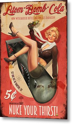 Metal Print featuring the digital art Atom Bomb Cola by Steve Goad