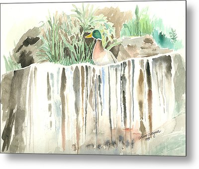 Atop The Waterfall Metal Print by Arline Wagner