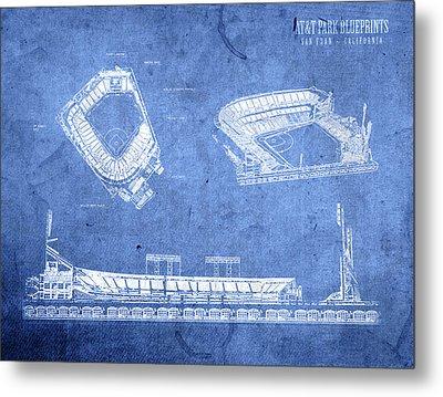 Att Park San Francisco Giants Baseball Stadium Field Blueprints Metal Print