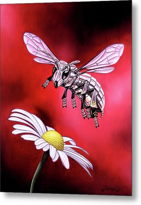 Attack Of The Silver Bee Metal Print