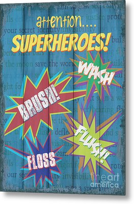 Attention Superheroes Metal Print by Debbie DeWitt