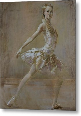Attitude Ballerina Painting On Leatheder Metal Print by Vali Irina Ciobanu