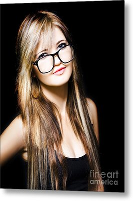 Attractive Business Woman On Black Background Metal Print by Jorgo Photography - Wall Art Gallery