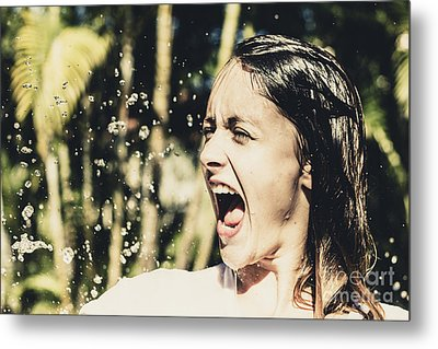 Attractive Woman At Play In Tropical Water Fall Metal Print